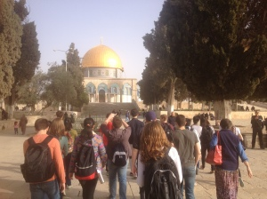 The group after an early morning wake up to get through the security lines to make it up to the Dome of the Rock/Al-Aqsa mosque compound. The 3rd holiest site in Islam.