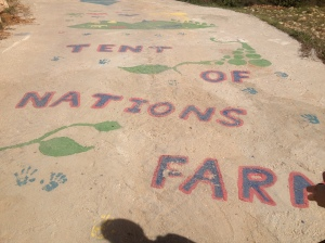 The sidewalk art on the entrance to the Tent of Nations Farm