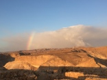 Rainbow at sunrise on top of Masada